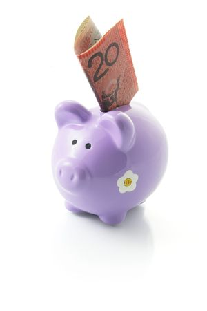 frugality: Piggy Bank with Dollar Note on White Background
