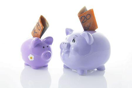 piggybanks: Piggybanks with Notes with Reflection Stock Photo