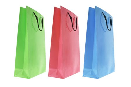 paperbag: Shopping Bags on White Background Stock Photo