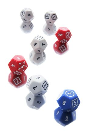 Dice with Reflections on White Background photo
