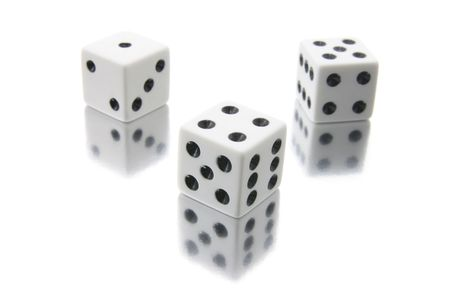Dice on White background with Reflections photo