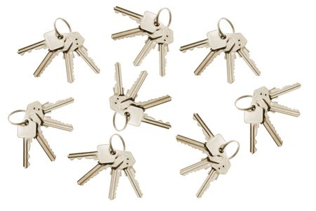 Bunches of Keys on White Background