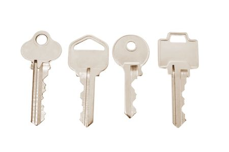 Four Keys in Warm Tone Isolated with White Background