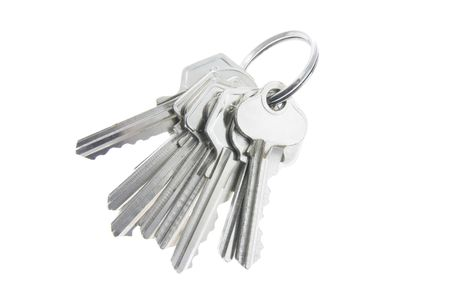 A Bunch of Keys on White Background 版權商用圖片