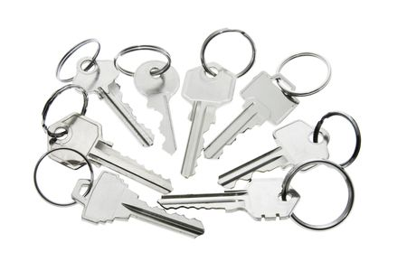 safeguard: Keys with Rings on White Background Stock Photo
