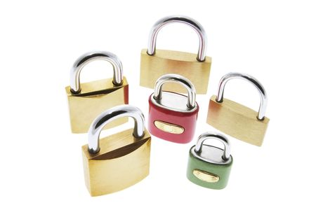 A Selection of Locks Isolated on White Background photo