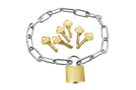 Keys, Lock and Chain on White Background Stock Photo - 3534130