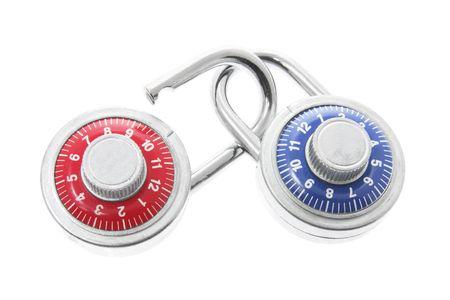 Combination Locks on White Background photo