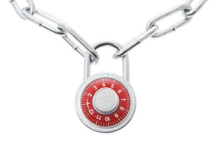 Combination Lock and Chain on Isolated White Background photo