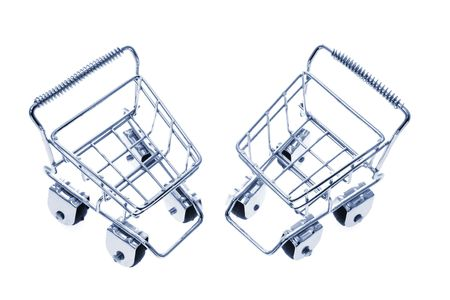 manoeuvre: Miniature Shopping Trolleys on White Background
