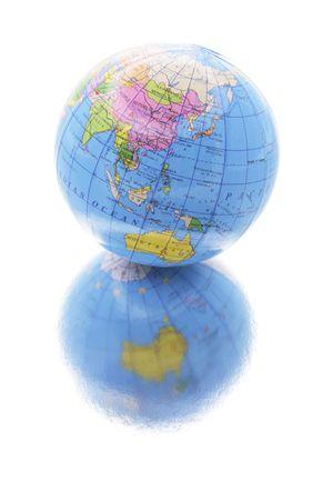 Globe with Reflection on Isolated White Background