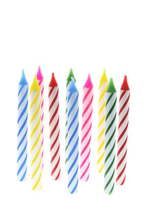 wicks: Row of Birthday Candles on White Background