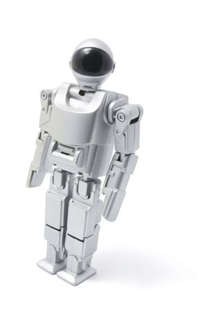 Toy Robot Standing on White Background photo