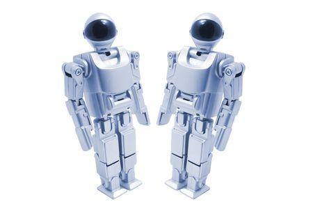 Toy Robots on White Background Stock Photo - 3534114