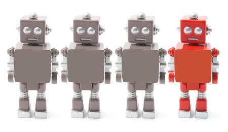 Toy Robot Standing on White Background Stock Photo - 3532888