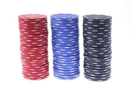 Stacks of Poker Chips on White Background Stock Photo - 3534245