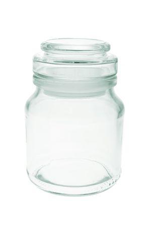 vaso vacio: Frasco de vidrio vac�os en el fondo blanco  Foto de archivo