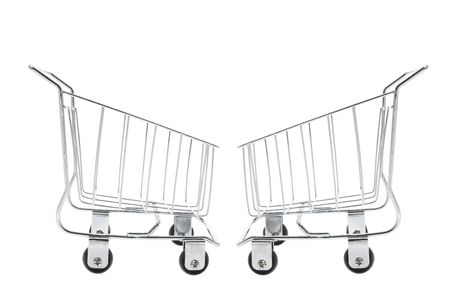 Miniature Shopping Trolleys on White Background photo