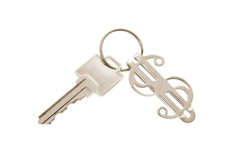 knock out: Key Ring with Dollar Symbol on White Background
