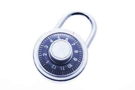 Combination Lock in Blue Tone on White Background Stock Photo - 3533312