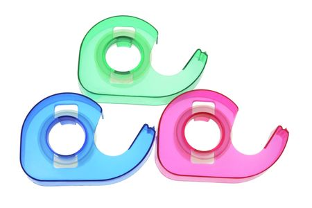 Plastic Tape Dispensers on White Background Stock Photo - 3534552