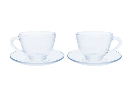 Teacups and Saucers on Isolated White Background Stock Photo - 3533875