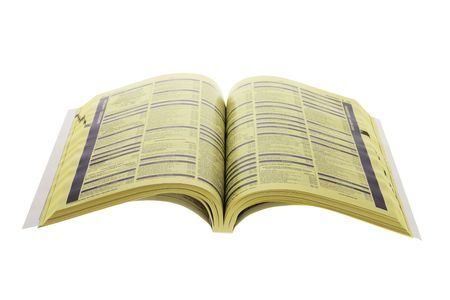 directory book: Phone Directory on Isolated White Background Stock Photo