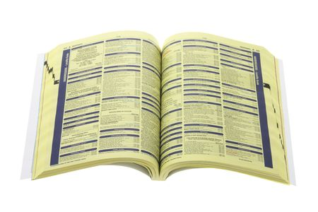 listings: Phone Directory on Isolated White Background Stock Photo