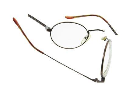 Broken Eyeglasses on Isolated White Background Stock Photo - 3533073