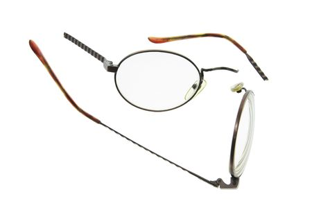 Broken Eyeglasses on Isolated White Background Stock Photo - 3533073