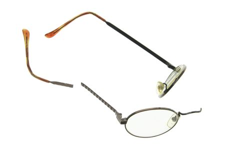 Broken Eyeglasses on Isolated White Background Stock Photo - 3533053