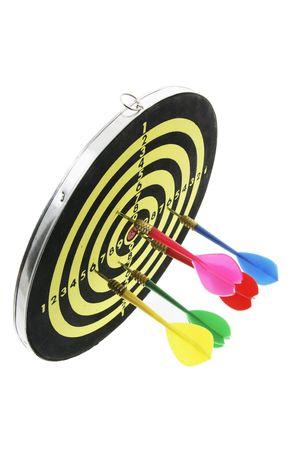 bobby: Darts on Dart Board on White Background Stock Photo