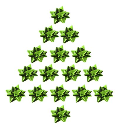 giftware: Star Bows in Xmas tree Shape on White Background