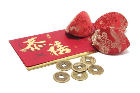 coin purses: Red Packet, Chinese Antique Money and Coin Purses Stock Photo