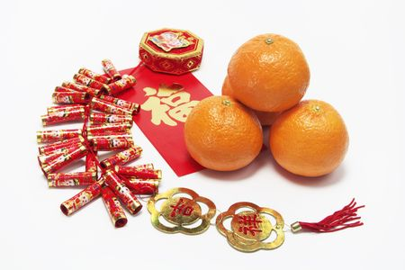fire crackers: Mandarins and Fire Crackers Stock Photo