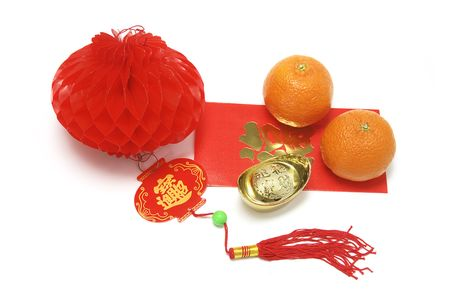 Mandarins and Red Packet with Chinese New Years Decorations photo