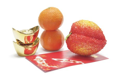 Mandarins, Gold Ingots and Red Packet photo