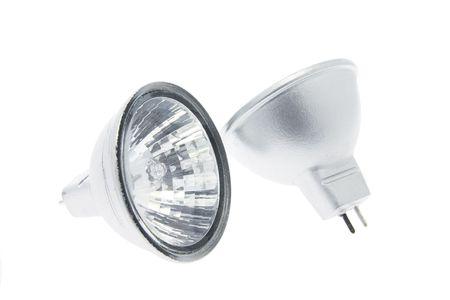 halogen lighting: Reflector Lamps on White Background Stock Photo