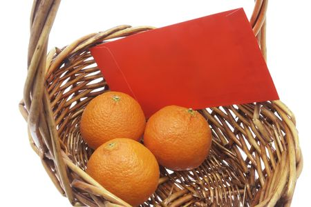 red packet: Mandarin and Red Packet in Basket