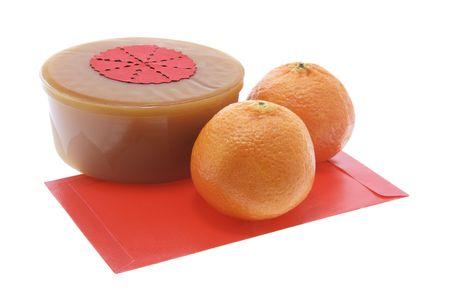 mandarins: Mandarins, Chinese New Year Cake and Red Packet