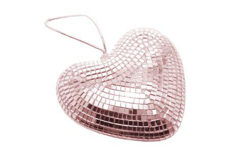 mirror ball: El amor del Coraz�n Mirror Ball sobre fondo blanco
