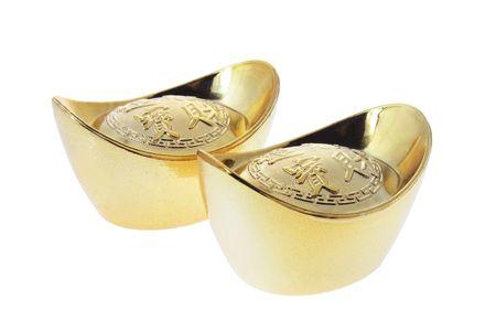 Gold Ingots on White Background photo