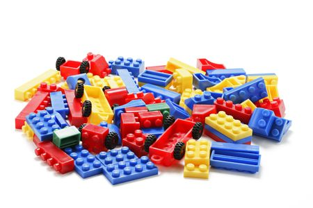 Plastic Building Blocks on White Background Stock Photo - 3715728