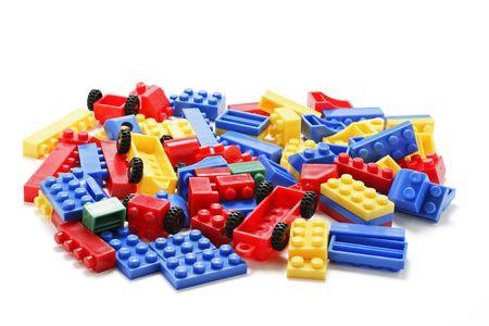 Plastic Building Blocks on White Background Stock Photo - 3715728