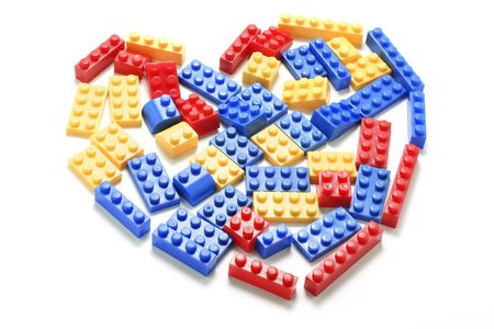 formed: Plastic Building Blocks  Formed in Heart Shape Stock Photo