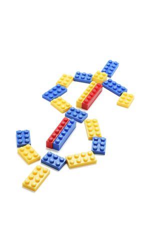 Plastic Building Blocks Formed in Dollar Sign Stock Photo - 3715059