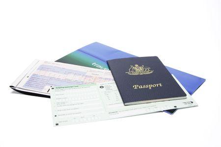 authorization: Travel Documents on White Background Stock Photo