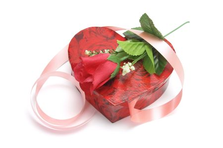 giftware: Red Rose and Heart-shaped Gift Box on White Background