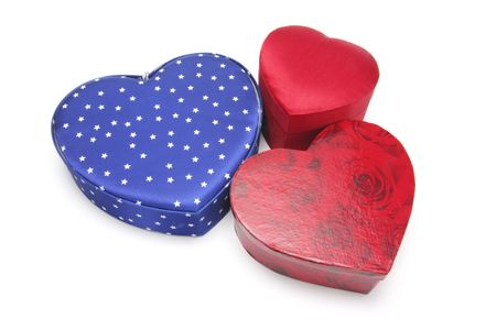 giftware: Heart-shaped Gift Boxes on White Background