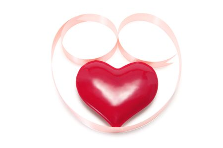 loveheart: Red Heart Symbol with Gift Ribbon on White Background